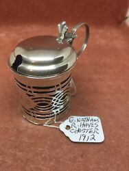 A Superb S/silver Pierced Fretwork Mustard Pot And Liner Nathan-hayes Chester1912