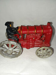Antique Cast Iron Toy Tractor Red Vintage Farm Toys  L13