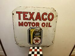 1940and039s Texaco Motor Oil Clean Clear Golden Porcelain Sign Approx 30x30