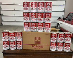 Nos Never Filled Vintage 24 Cans Top-kik Motor Oil And Original Shipping Box