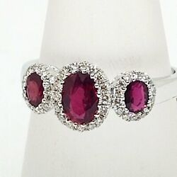 3 Ruby Ring With Diamonds 18k White Gold 1.12 Ct Tw Oval Natural Rubies