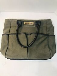 "Barnes amp; Noble Canvas And Leather Tote Book Bag Olive Green Heavy Duty 13""x16"" $14.99"