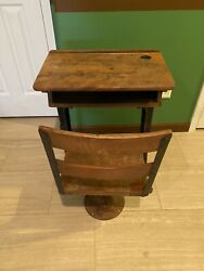 Vintage School Desk With Chair. Has Ink Well.
