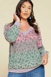 Gray Animal and Tie Dye Print French Top
