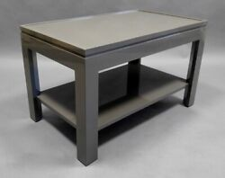 Contemporary Gray End Table/night Stand With A Faux Tray Design