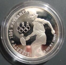 1996 Olympic Tennis Commemorative Silver Dollar - Proof In Mint Capsule