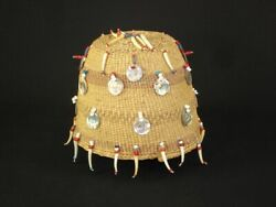 Very Rare Chehalis Indian Hat Basket W/ Beads And Shells, Native American C1915