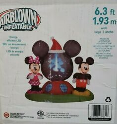 Gemmy 6ft Panoramic Projection Mickey And Minnie Clubhouse Christmas Scene