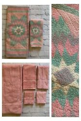 7pc Vintage Pink Solid Green Purple Bath Hand Tip Wash Towel Open Home Sears Set