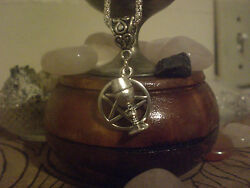 Witch Pentagram Chalice Cup Wine Goblet Charm Lucky Necklace Silver