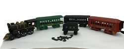 Nice Reproduction Cast Iron Train Set Of 1 Engine, 1 Tender And 3 Passenger Cars
