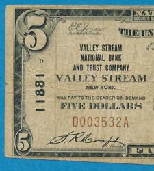 5.00.1929 Ti Valley Stream Nb And Trust Co. Valley Stream N.y. .chart. 11881