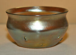 Signed Lct Gold Iridescent Berry Bowl With Swirl Prunts Look