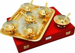 Elegant Beautiful Silver Gold Plated Six Bowls Set With Tray Gift