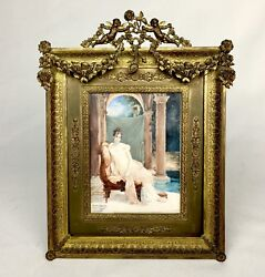 Antique Large Portrait Miniature In French Gilt Gold Bronze Dore Frame Signed