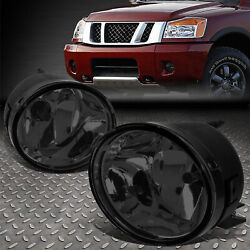 For 05-15 Nissan Titan Armada Smoked Lens Front Bumper Driving Fog Light Lamps