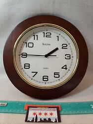 BULOVA Wall Clock CW112 11quot; Wooden Round Wall Clock Works Great