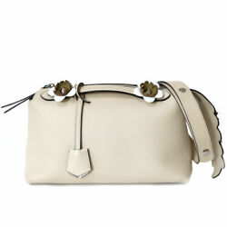 Fendi Shoulder Bag Cross Body Beige Leather By The Way From Japan