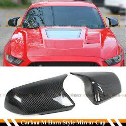 M Horn Wing Carbon Fiber Side Mirror Cap Covers For 15-2020 Mustang W/ Led Light