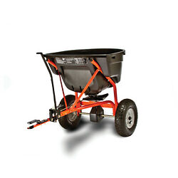 Pull Behind Tow Broadcast Spreader Mower Tractor Seed Fertilizer Hitch 130 Lb