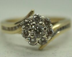 100 Genuine 9k Solid Yellow Gold 0.38ct Diamond Cluster Dress Ring Sz 4.5 Or I