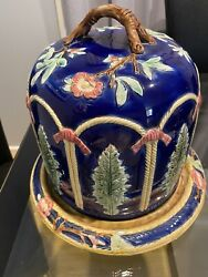 Beautiful Antique Majolica Cheese Plater With Dome