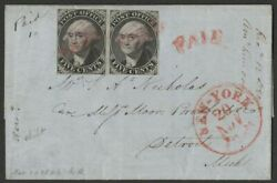 Malack 9x1 Vf+ Pair On Cover Left Stamp Double T..more.. K0833