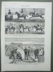 Horse Riding Comp Islington Antique Print And Hand Grenade Practice Chatham 1877