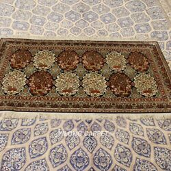 Yilong 3'x5' Floral Hand-knotted Silk Carpet High Density Home Interior Rug 294h