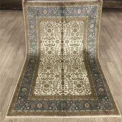 Yilong 4and039x6and039 All Over Design Handmade Silk Carpet Home Interior Rug 031b