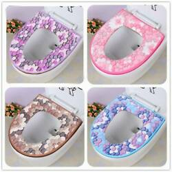 Universal Washable Flowers Toilet Seat Cover Pads Warmer Cushion Cloth Thick Mat