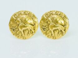 Vintage 1980's Gold Plated Cc Lion Coin Earrings