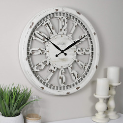 20quot; Wall Clock Antique Round Large Hanging Distressed White Rustic Farmhouse
