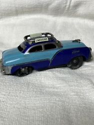 Friction Tin Toy Limousine Car Ford Two Tone Blue 1960s Vintage Signs Works