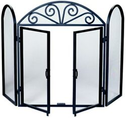 Black Wrought Iron Fireplace Screen - 32 H X 52 W - With Doors