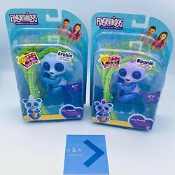 Lot Of 2 - Fingerlings Baby Glitter Panda - Beanie Purple And Archie Blue