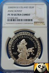 2000 Bvi 20 Dollars Ngc Top Pop Pf70 Pirate Anne Bonny Silver Proof Coin