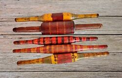 Lot Of 5 Vintage Original Old Hand Carved Lacquer Wooden Chapati Rolling Pin B01