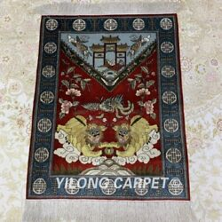 Yilong 2'x3' Handwoven Lion Silk Tapestry Red Classic Home Indoor Carpet Mc072h