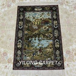 Yilong 2and039x3and039 Handmade Silk Tapestry Mountain River Scenery Antique Rug Mc069h