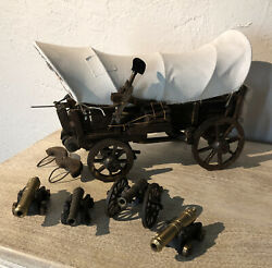 Antique Primitive Toy Wooden Prairie Schooner Covered Wagon Stagecoach W/canons