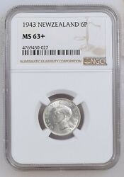 1943 New Zealand 6p Sixpence Ngc-ms63+ Very High Grade 1.8m Made Rare Silver