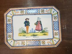 Vintage French Quimper Potter - Serving Tray With Man And Woman