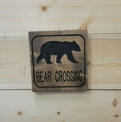 Bear Crossing Icon/carved Rustic Wood Sign/recreational/cabin/lodge/décor