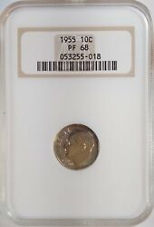 1955 10c Proof Roosevelt Dime Old Ngc Fatty Pf68 And 1963 25c Anacs Pf66