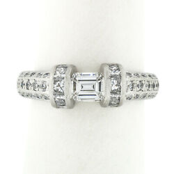 Vintage Platinum 1.35ct Floating Diamond W/ Accents Hand Engraved Work Band Ring