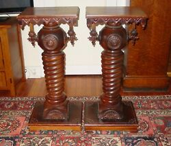 Matched Pair Antique Ornate Mahogany Pedestals--stick And Ball Style-----15579