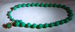 1950-51 Miriam Haskell Jade Green Glass Bead 16 Necklace Oval Stamped Hang Tag