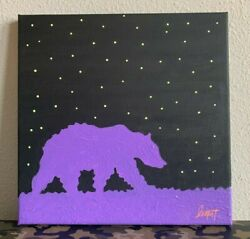 Bear Starry Night Painting Hand Painted Artwork Acrylic Canvas 10X10quot; inches