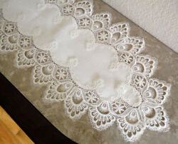 Dresser Scarf Mantel Delicate White Trim Lace Doily Mantle Runner 63 X 12
